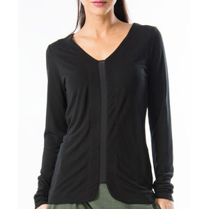 NWT Black Long Sleeve Sheer Panel Top